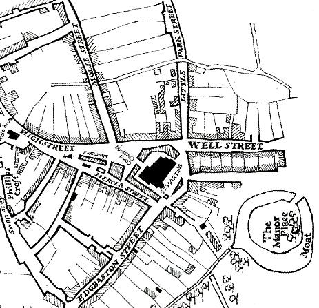 Map illustrating the early town of Birmingham