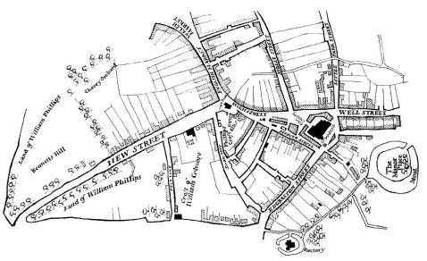 Map illustrating the early town of Birmingham, 1553