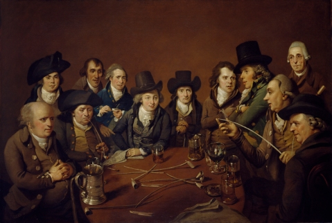 The painting 'John Freeth and His Circle' by Johannes Eckstein
