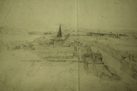 Samuel Lines sketch of Birmingham from the Dome of St Philip