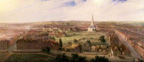Samuel Lines painting of Birmingham from the Dome of St Philip