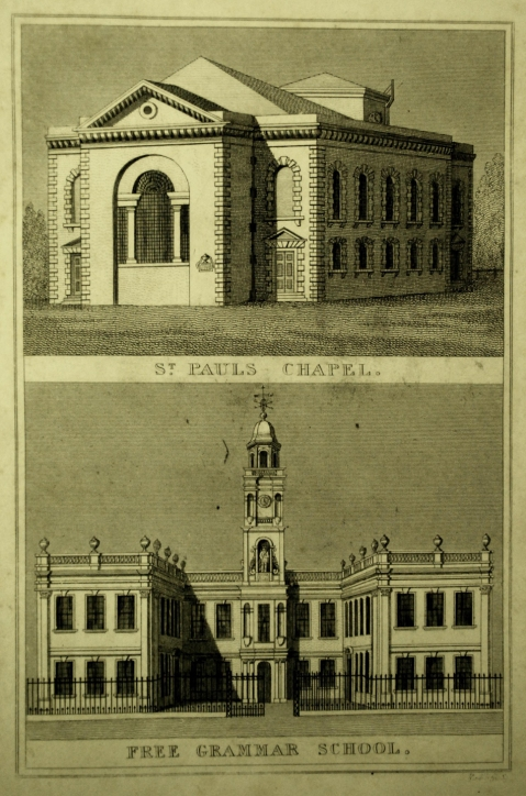 Prints of St Pauls Chapel and the Free Grammar School, Birmingham