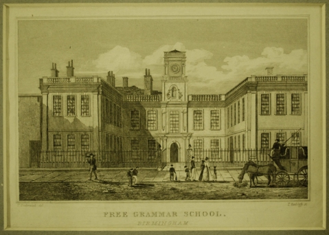 Print of the Free Grammar School, Birmingham