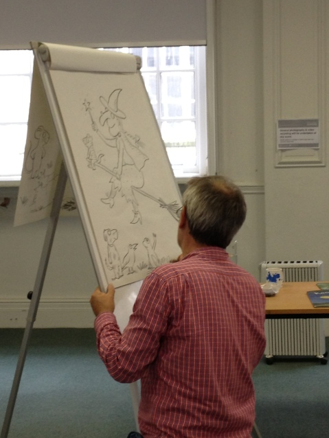 Axel Scheffler drawing characters from Room on the Broom