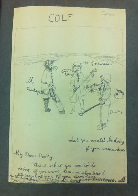 Drawing by Jocelyn Gaskin of her father playing golf