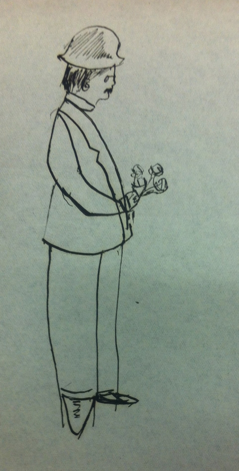 Drawing of a man holding flowers by Jocelyn Gaskin