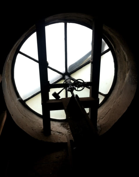 Inside the clock in the dome of St. Philips Cathedral