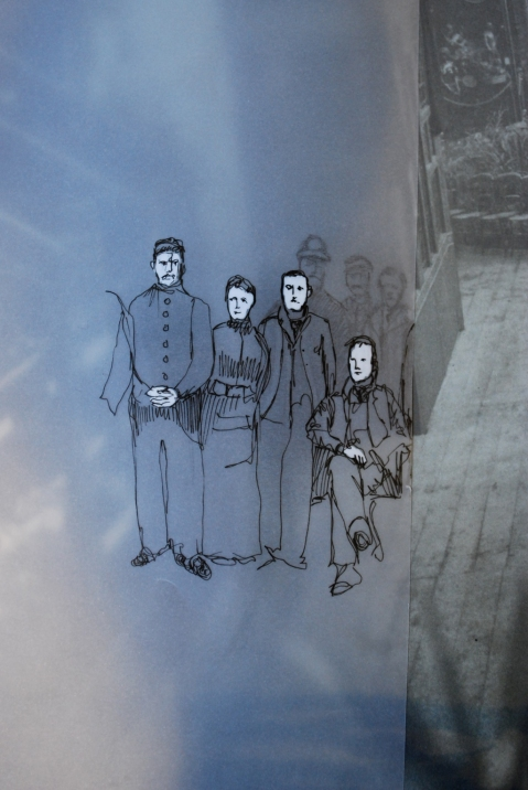Sketch of museum assistants from 1900s