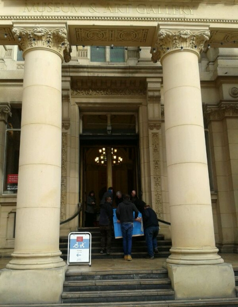 The Grayson Perry tapestries arrive through the main entrance doors