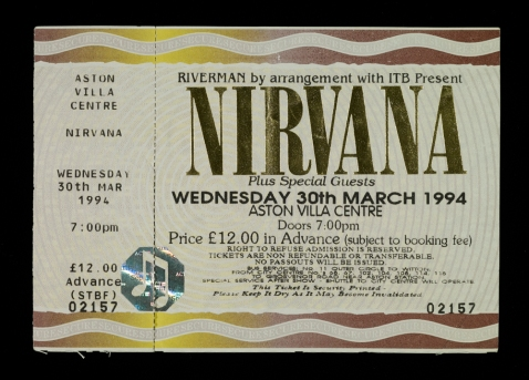 Nirvana concert ticket for the Aston Villa Centre, 30 March 1994