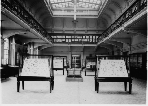 This is the 'long gallery' in the twentieth century, which is now the Edwardian Tea Room. This photograph reflects well what the Art Reformers were trying to achieve by opening an industrial museum and gallery.