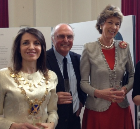 Cllr Annie Brewster, Mayor of St Albans City & District; Professor Geraint John, President of St Albans Civic Society; Lady Verulam