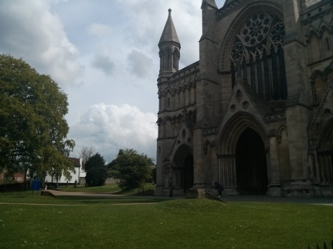 St Albans Cathedral with Hughes's home in the background