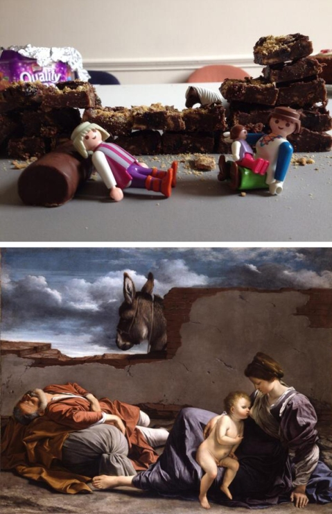 Rest on the Flight into Egypt by Orazio Gentileschi inspired cake