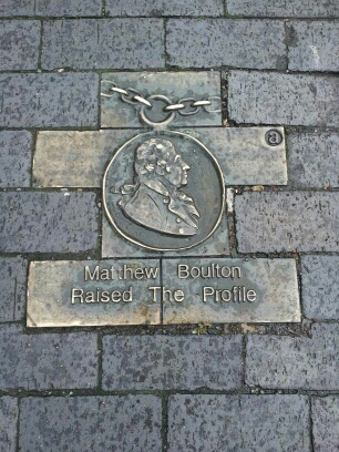 Paving stone onFrederick Street, Jewellery Quarter with the inscription 'Matthew Boulton. He raised the profile'