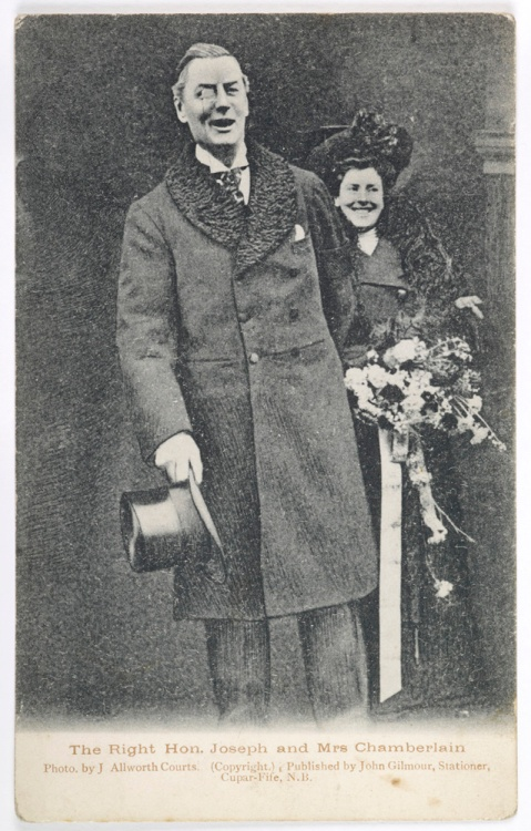 Postcard of Joseph and Mrs Chamberlain