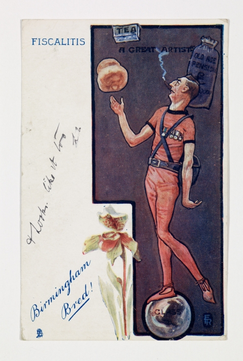 Satirical postcard of Joseph Chamberlain, around 1905