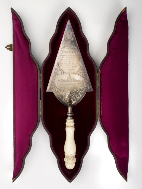 Ceremonial Trowel given to Joseph Chamberlain, 1874