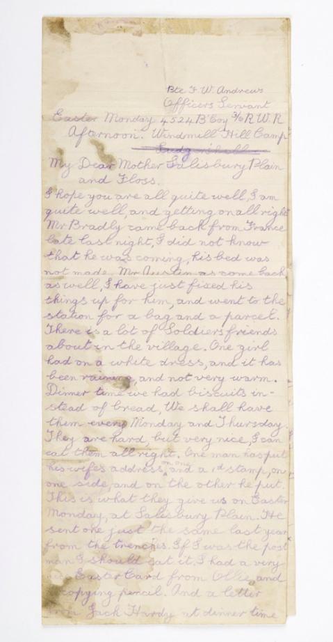 Letter written by Fred