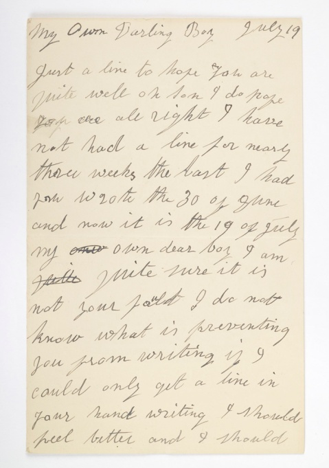 Letter written by Fred's mother to Fred