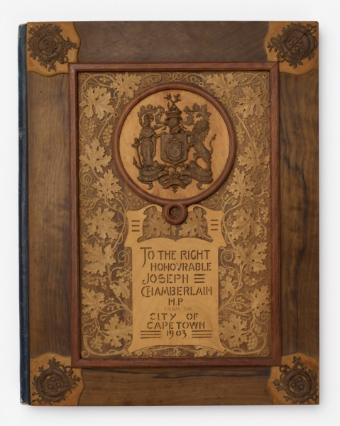 Wooden folder presented to Joseph Chamberlain in Cape Town, South Africa, 1903