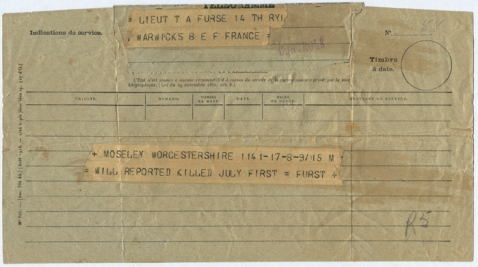Telegram informing of Bill's death