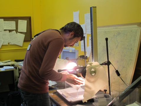 Riccardo, one of the volunteers, at work