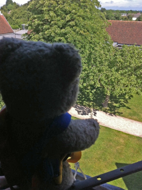Teddy ready to parachute out of the window at Blakesley Hall