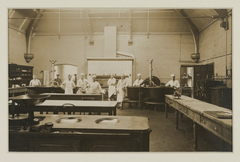 Harold working in the kitchens at Dudley Road Hospital, 1916