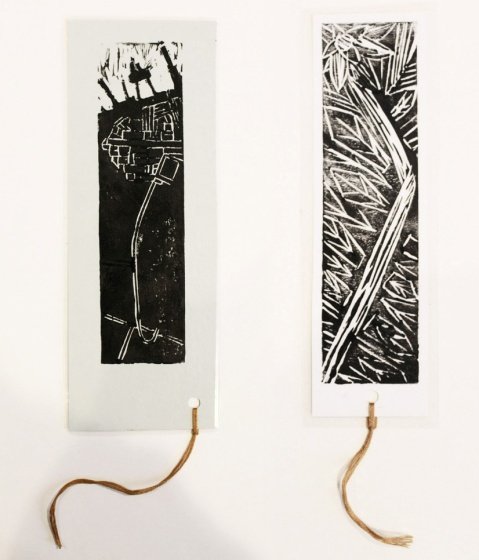 Two bookmarks produced during the workshop