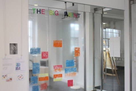The 'Big Print' wall in the activity zone studio