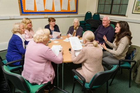 Writers from the Kings Norton Writing Group at work on Story Hoard